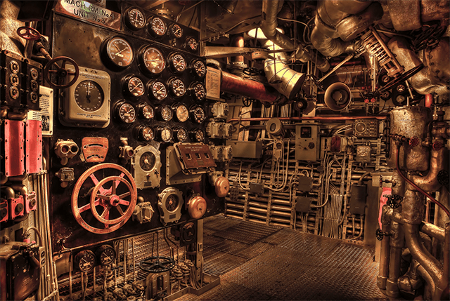 Historic Battleship Engine Room