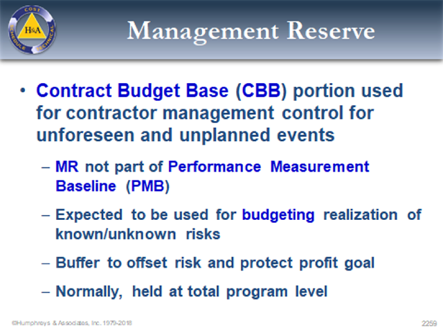 Management Reserve Contract Budget Base CBB
