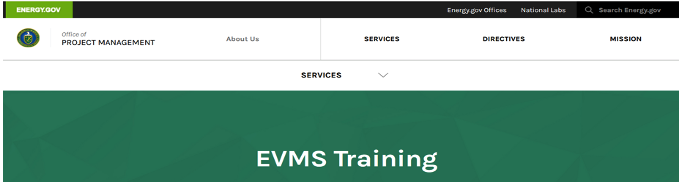 DOE EVMS Training Menu
