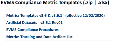 EVMS Compliance Metric Templates